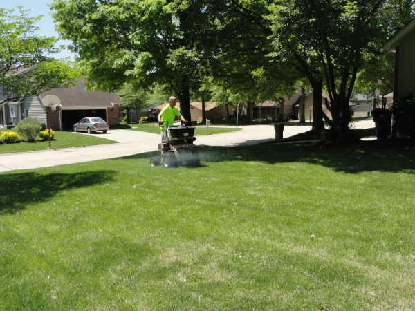 Applying fertilizer to a lawn