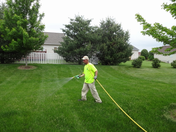 Liquid fertilizer lawn application